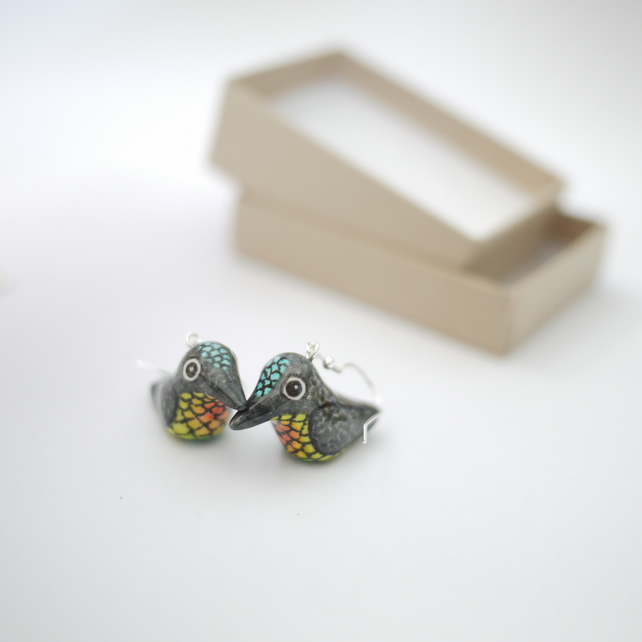 Fiery Throated Hummingbird Earrings