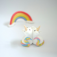 Rainbow Unicorn Wedding Cake Topper