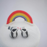 Bride and Groom Badger Wedding Cake Topper