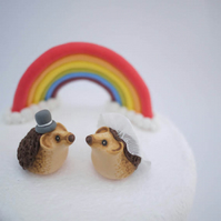 Bride and Groom Hedgehog Wedding Cake Topper