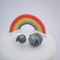 Black and White Sheep Wedding Cake Topper