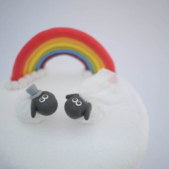 Bride and Groom White Sheep Wedding Cake Topper