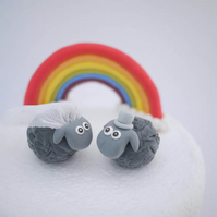 Bride and Groom Black Sheep Wedding Cake Topper