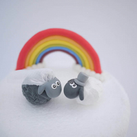 Bride and Groom Black and White Sheep Wedding Cake Topper