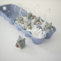 Grey Squirrel Christmas Tree Ornaments (Box of 6)