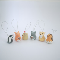 Woodland Creatures Christmas Tree Ornaments (Box of 6)