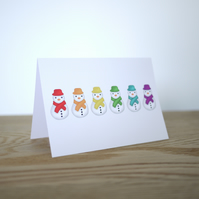 Rainbow Snowmen Christmas Card