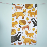 British Mammals Tea Towel