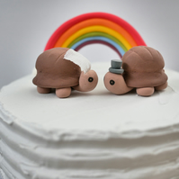 Bride and Groom Tortoise Wedding Cake Topper