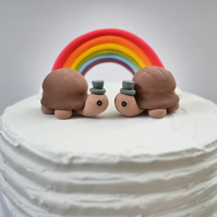 Groom and Groom Tortoise Wedding Cake Topper