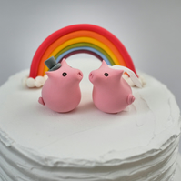 Bride and Groom Pig Octopus Wedding Cake Topper