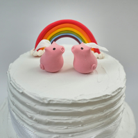 Bride and Bride Pig Octopus Wedding Cake Topper