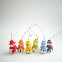 Rainbow Snowmen Christmas Tree Ornaments