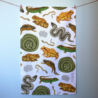 British Reptiles and Amphibians Tea Towel