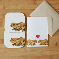 Valentine's Day Toad Card and Coaster Set