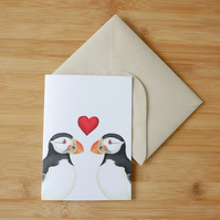 Valentine's Day Puffin Card