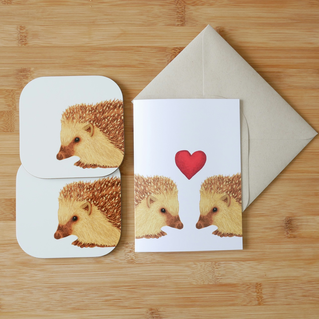 Valentine's Day Hedgehog Card and Coaster Set