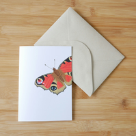 Illustrated Peacock Butterfly Card