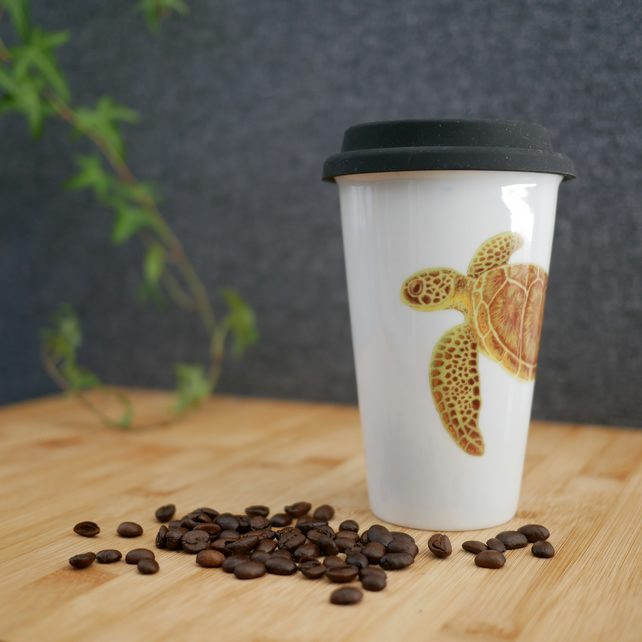 Ceramic Turtle Travel Mug