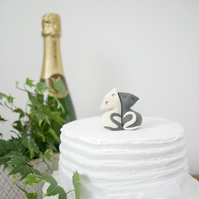 Black and White Cat Wedding Cake Topper