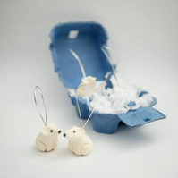 Handmade Polar Bear Christmas Tree Decorations - With Plastic Free Packaging