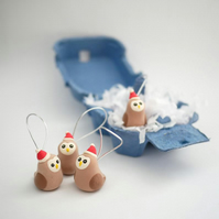 Handmade Owl Christmas Tree Decorations - With Plastic Free Packaging