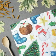 Christmas Tea Towel - With Plastic Free, Eco Friendly Packaging