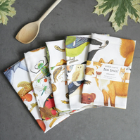 Set of Five British Wildlife Tea Towels - Choose Your Own