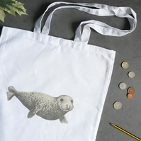 Seal Cotton Tote Bag - Illustrated Bag Inspired by Wildlife