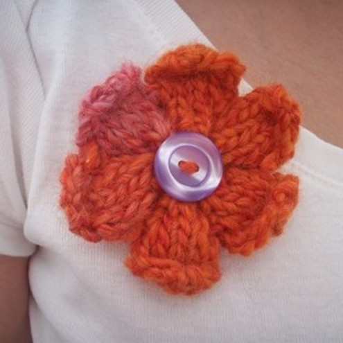 Orange and Pink Knitted Flower Brooch with Lilac button