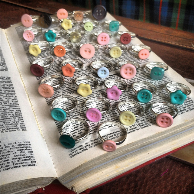 Vintage button stacking rings - choose three to mix and match