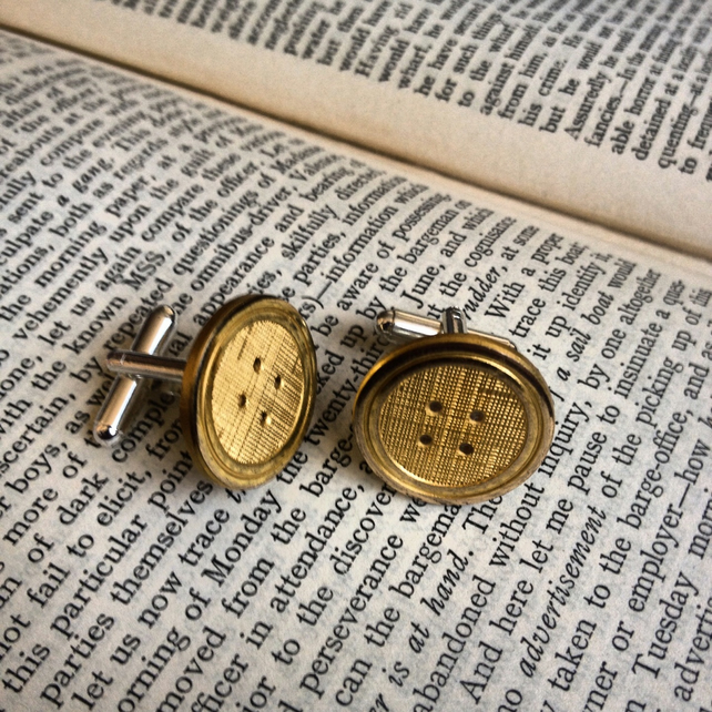 Vintage gold coloured button cufflinks