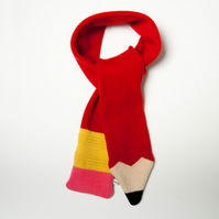 Lambswool Red Pencil Scarf - Made to order