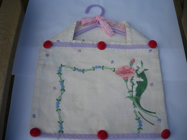 Upcycled Tray Cloth into a Peg Bag in Pinks and Purples