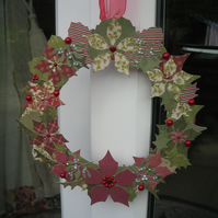 Indoor Christmas Wreath Made with Card, Ribbon and Embellishments