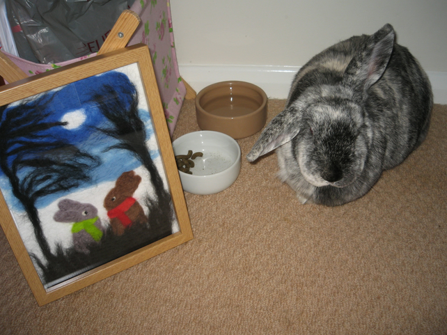Needle Felted Picture of Two Bunny Rabbits in the Moonlight
