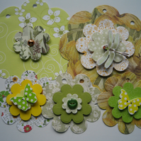 Card and Paper Bunting with Embellishments Butterflies, Dragonflies and Buttons