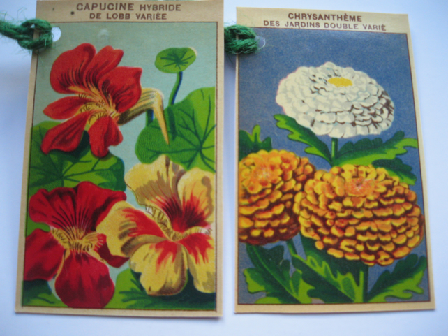 Four 1920's French Flower Seed Label Gift Tags