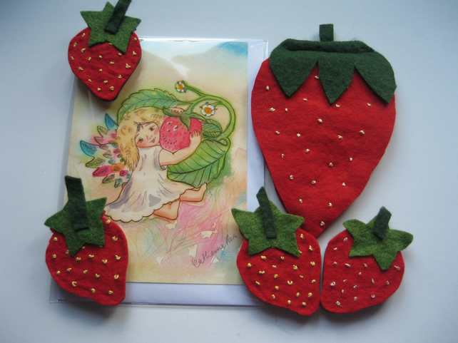 Strawberry themed gift set - card, magnets and needle case