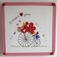 "Embroidered Canvas ""Hitching a ride"""