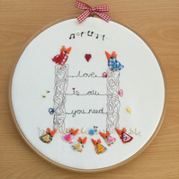 "Embroidered Hoop Art ""Love is all you need"""
