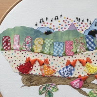 "Embroidered hoop art ""Glasthenbury Festival"""