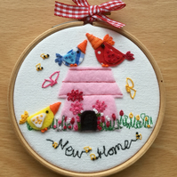 "Embroidered hoop art""New Home"""