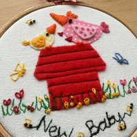 "Embroidered hoop art ""New Baby"""
