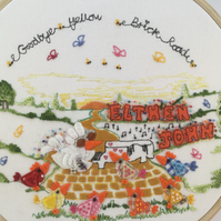 "Embroidered Hoop Art ""Goodbye Yellow Brick Road"" Elton John"