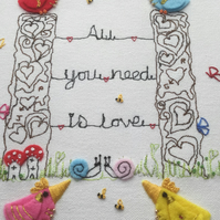 "Embroidered Hoop Art ""All you need is love"""
