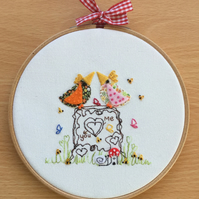 "Embroidered Hoop Art "" You & me"" Can be personalised."