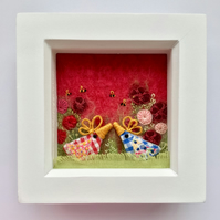 "Mixed media box frame, ""Flora & Fred"""