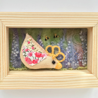Mini shadow box frame 'Della the chick'
