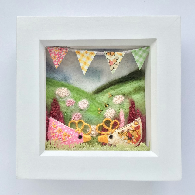 Shadow box frame 'Terry & June' chicks.